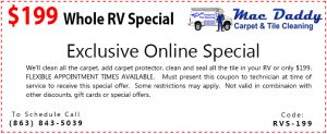 RV carpet and tile cleaning coupon